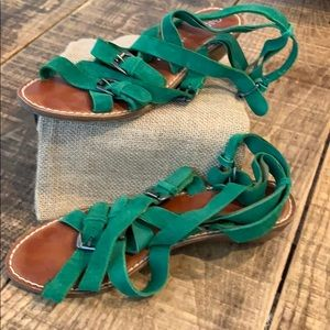 *3 for $20*/Gap sandals, multi strap green suede 8